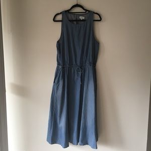 Lou & Grey Chambray Midi Dress With Cut Out Back
